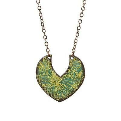 Mini Green & Yellow Crescent Necklace - Aflame