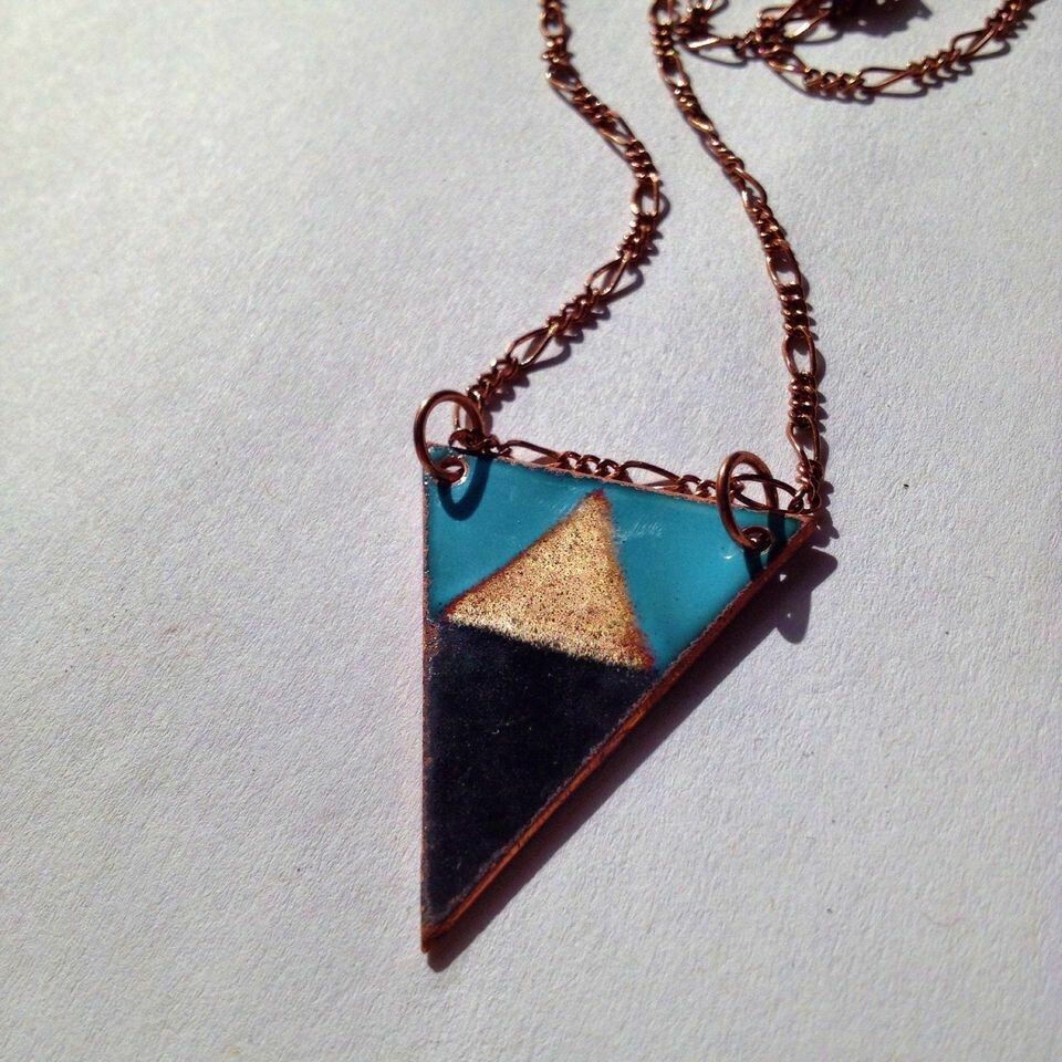 Blue & Black Mountain Triangle Necklace - Aflame