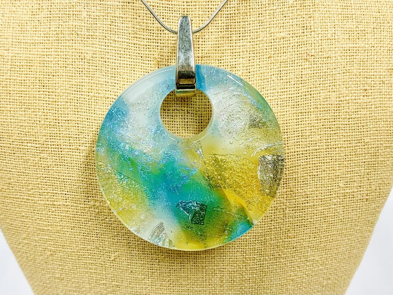 Blue & Gold Watercolour Pendant - Carma's Glass
