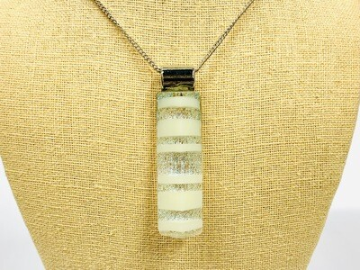 White Striped Pyramid Pendant - Carma's Glass