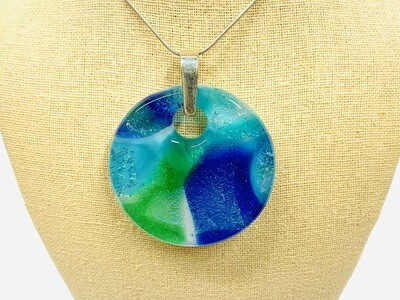 Blue & Green Watercolour Pendant - Carma's Glass