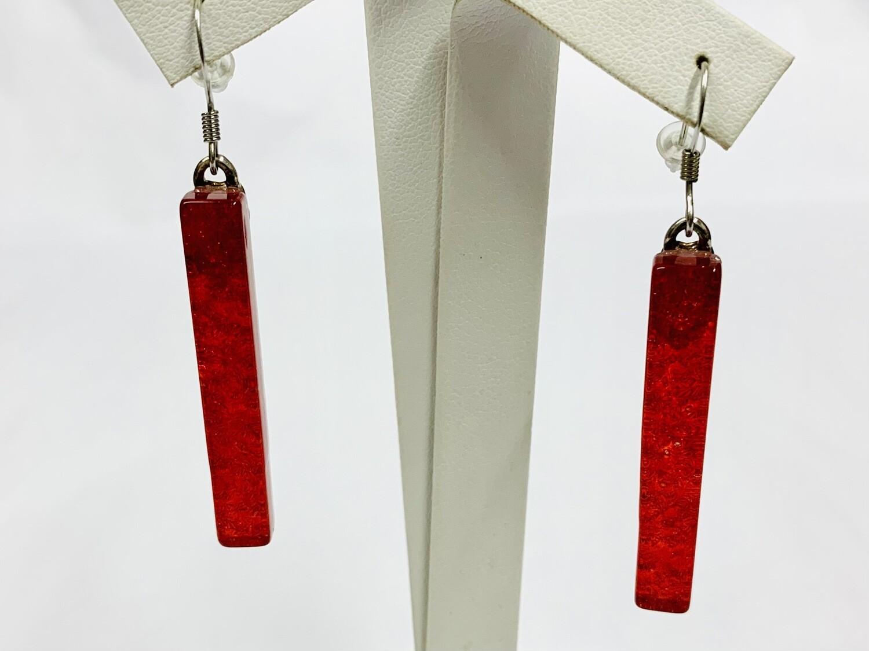 Red Long Dangle Earring - Carma's Glass