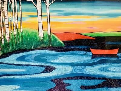 Birches and Boat - Shelagh Duffett