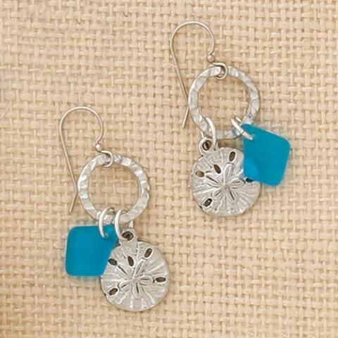 Circle Drop Sand Dollar Earrings - Basic Spirit