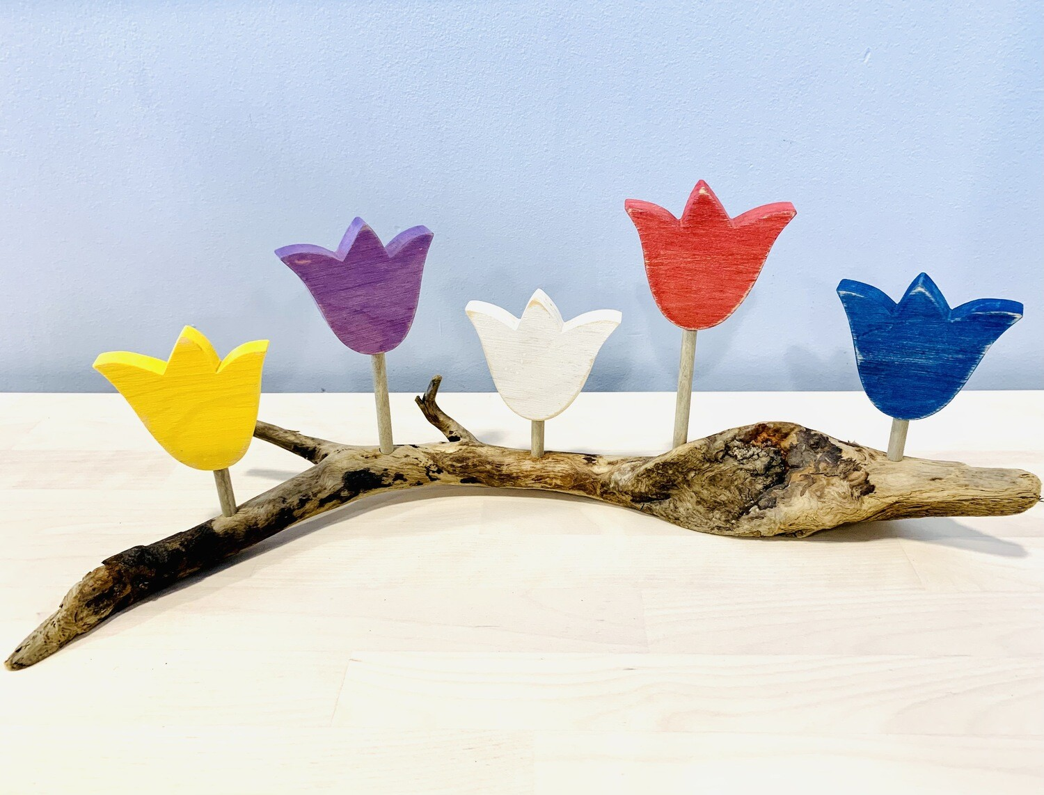 5 Tulips on Driftwood - Jerry Walsh