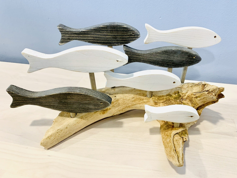 Grey & White 7 Fish School - Jerry Walsh