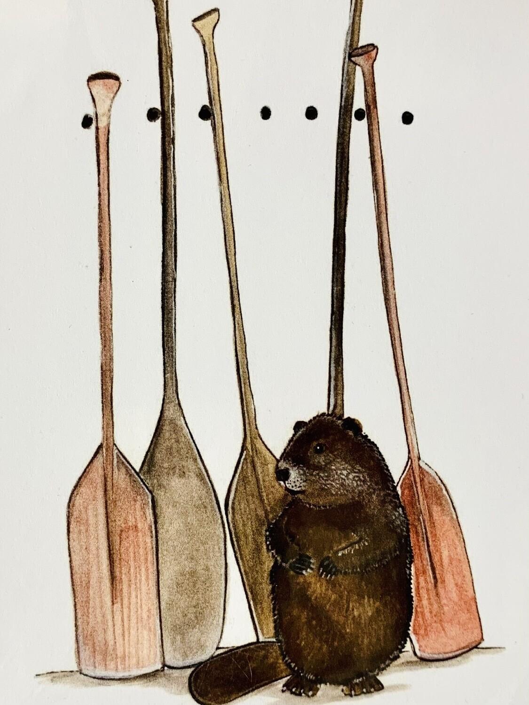 Beaver and Oars Card - Sarah Duggan