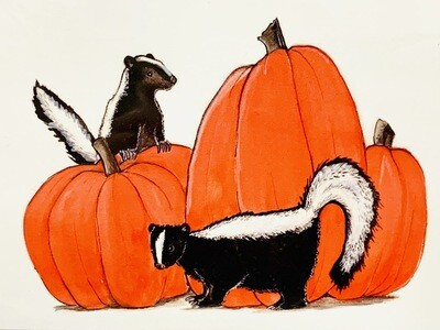 Pumpkins and Skunks Card - Sarah Duggan