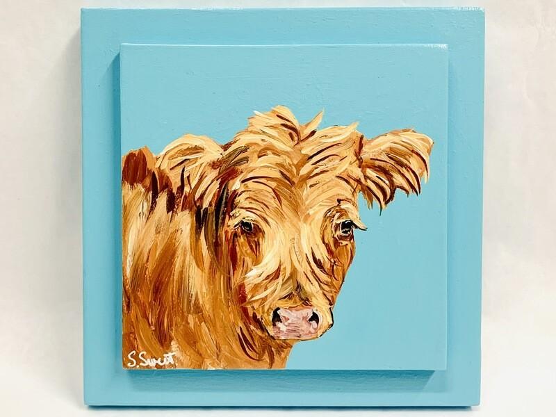 Highland Cow on Shoreline Blue