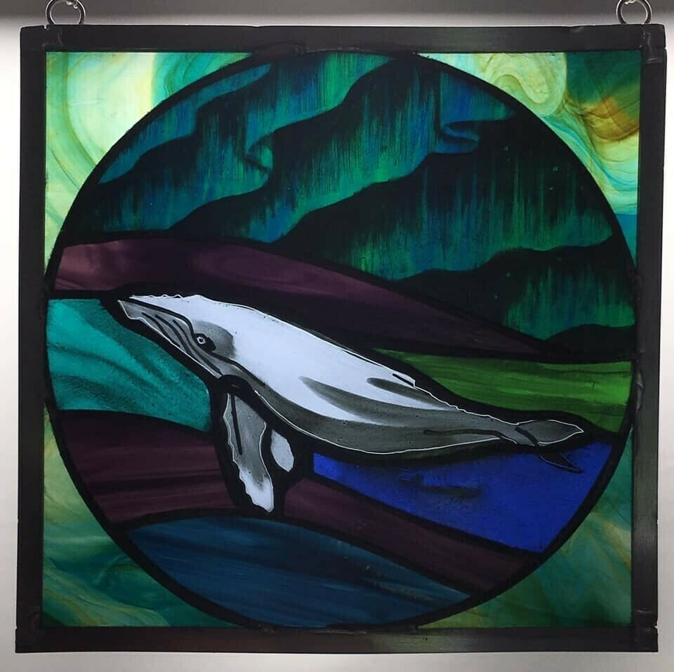Square Whale Stained Glass