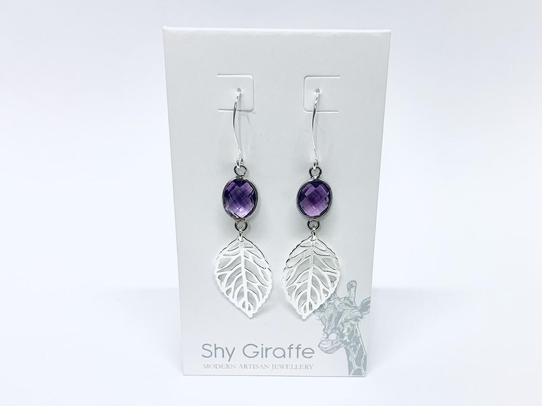 Leaf & Amethyst Gemstone Earrings - Shy Giraffe