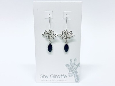 Lotus & Black Onyx Gemstone Earrings - Shy Giraffe