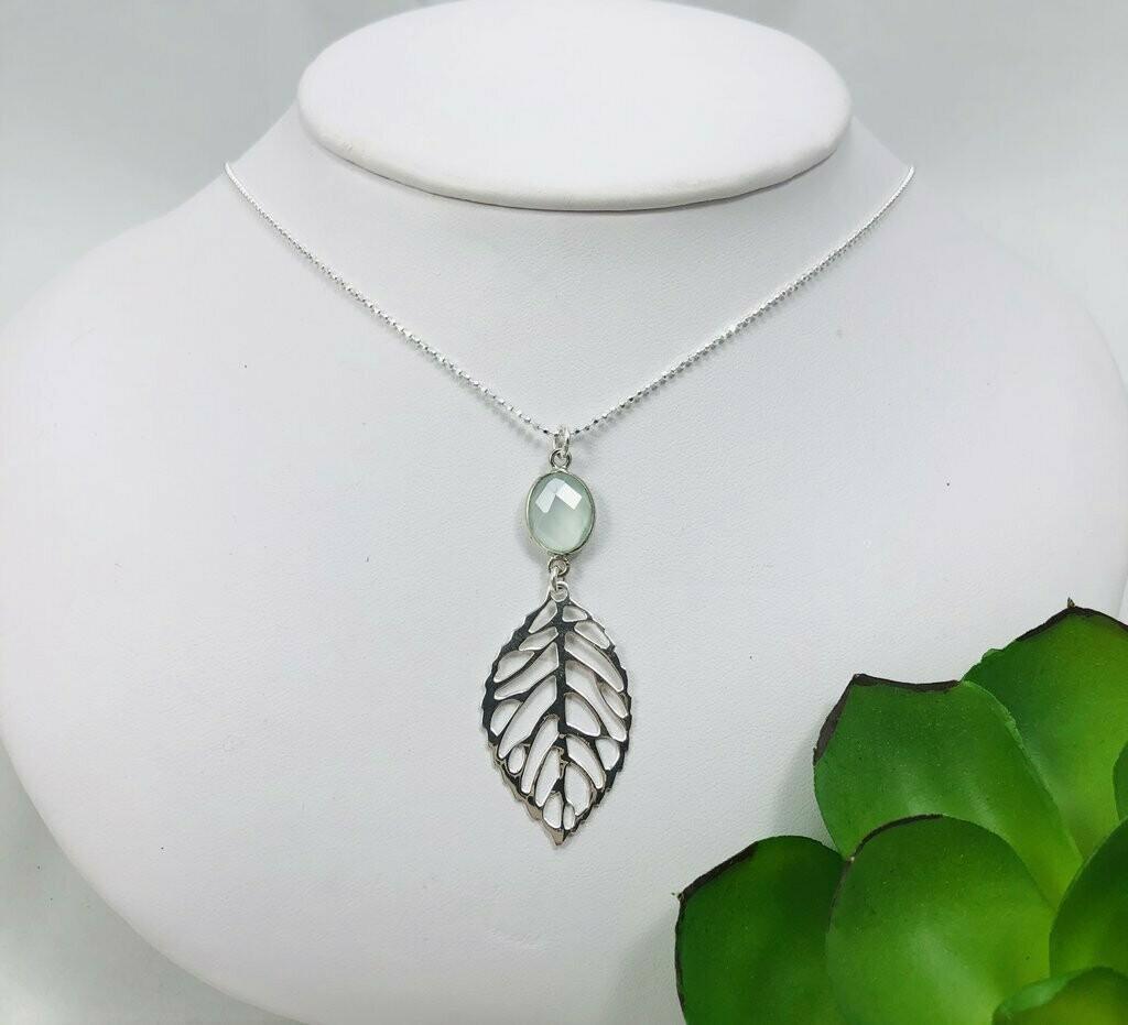 Leaf & Aqua Chalcedony Gemstone Necklace - Shy Giraffe