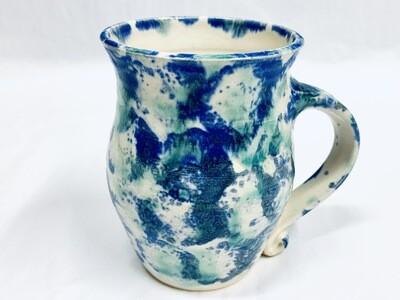 Seafoam & Blue Speckles Mug, Tall