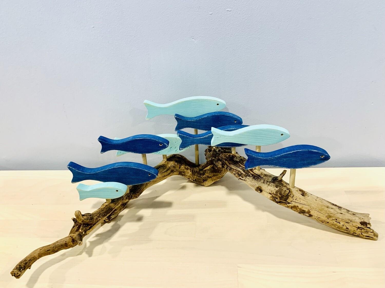 Blue & Aqua 9 Fish School - Jerry Walsh