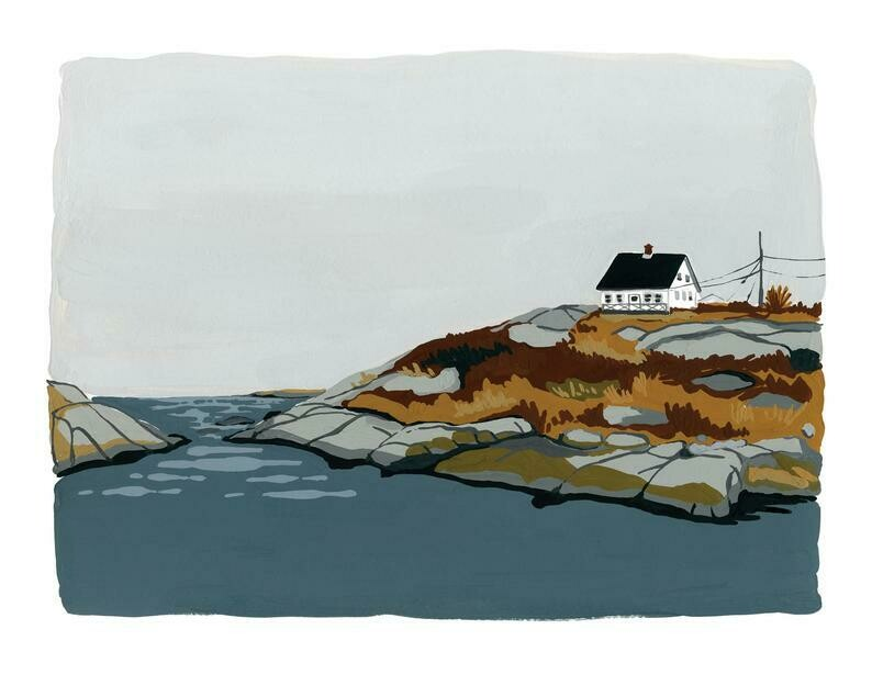 Kat Frick Miller Print - House by the Shore (Peggy's Cove)