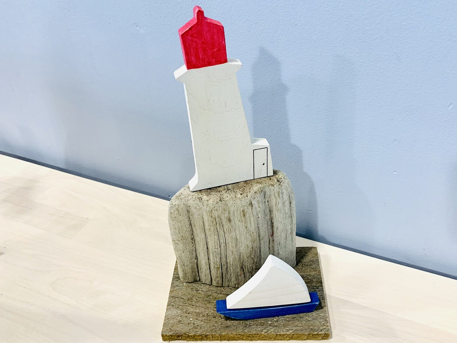 Blue Sailboat and Lighthouse Scene - Jerry Walsh