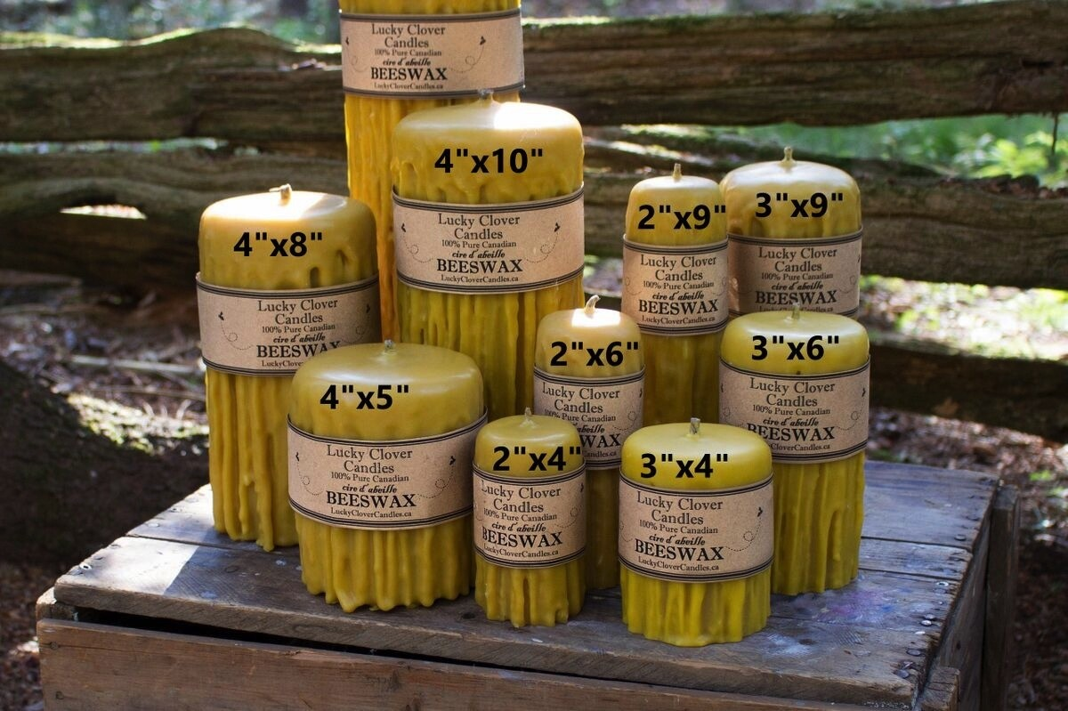 Hand Dripped Beeswax Candle 3x4