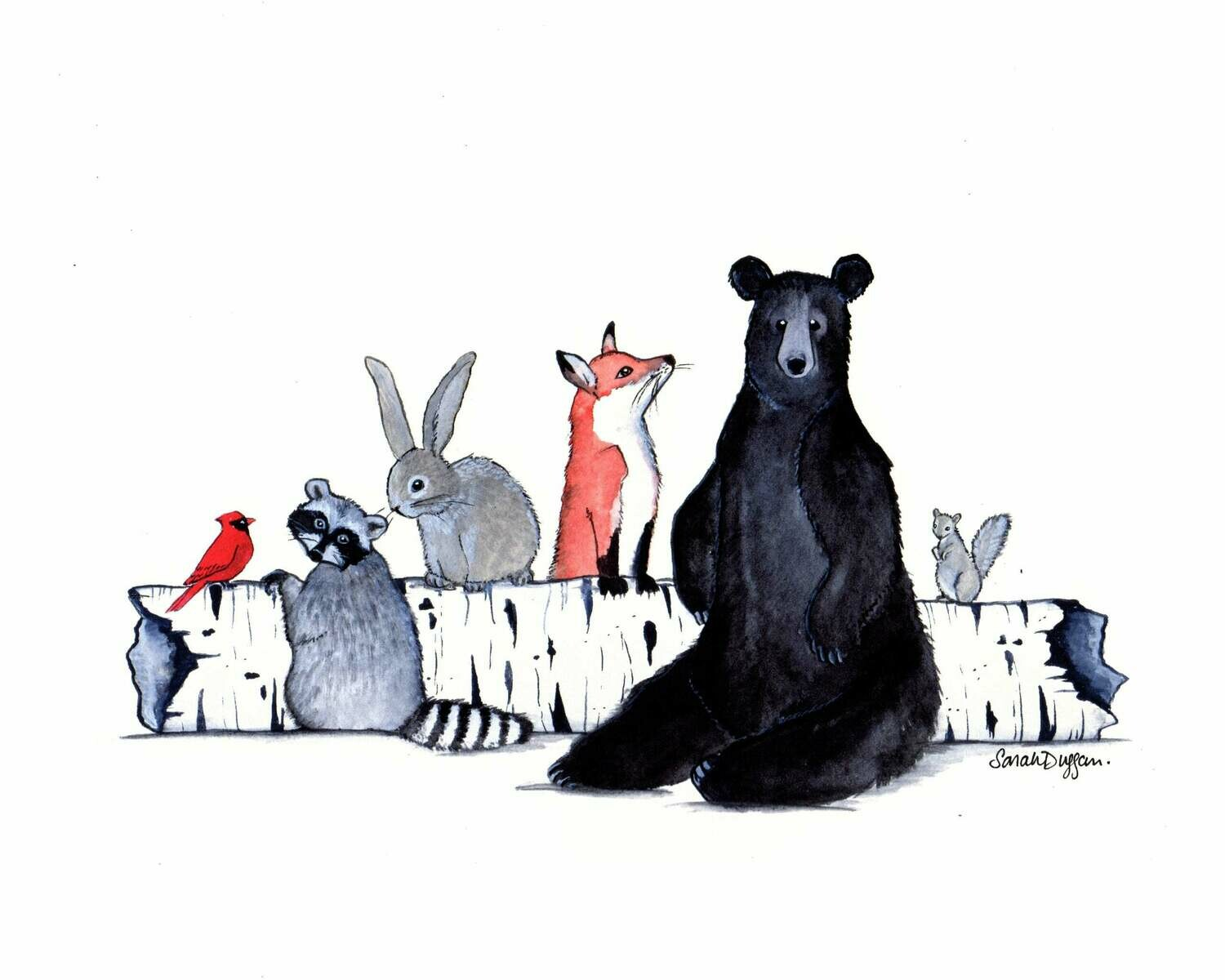 Critters and a Birch Log - Sarah Duggan