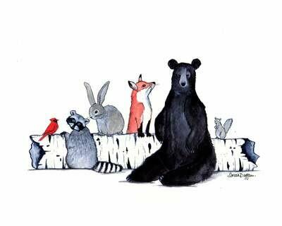Critters and a Birch Log - Sarah Duggan