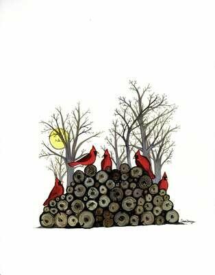 Cardinals on the Woodpile - Sarah Duggan