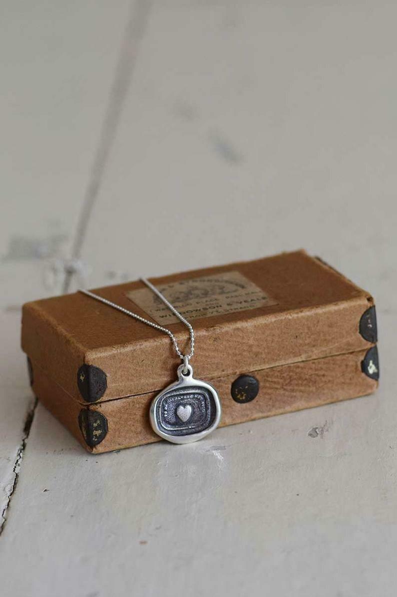 207-A Treasured Heart Wax Seal Pendant