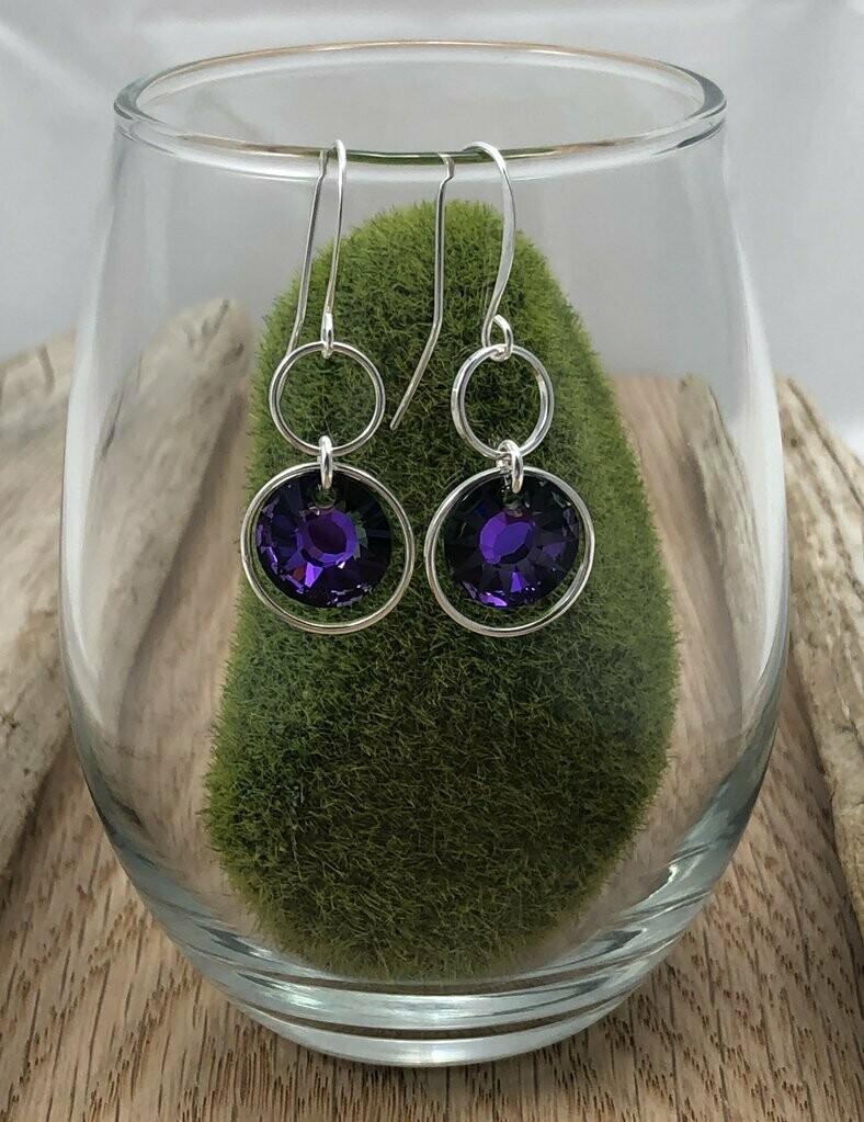 Violet Swarovski Crystal Earrings - Shy Giraffe