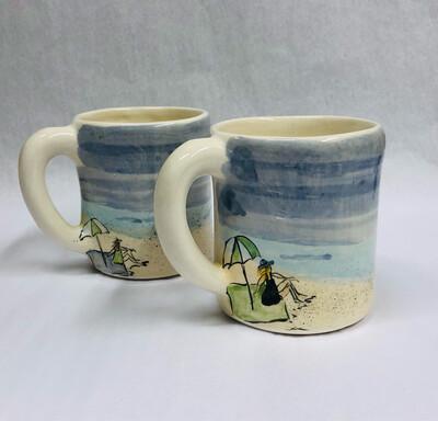 Beach Mug, Lady on Towel - Clayton Dickson