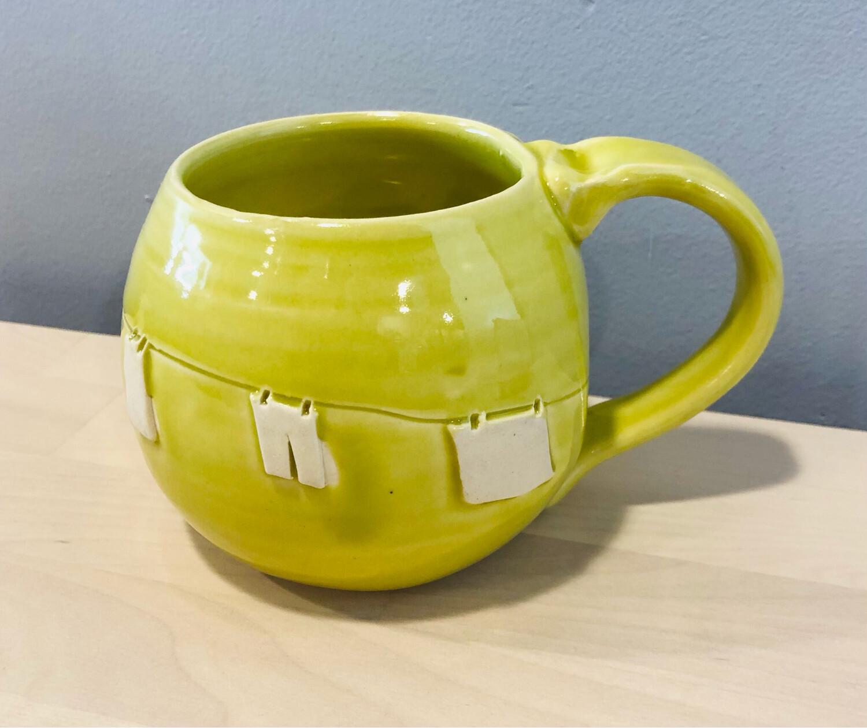 Lime Green Clothesline Mug