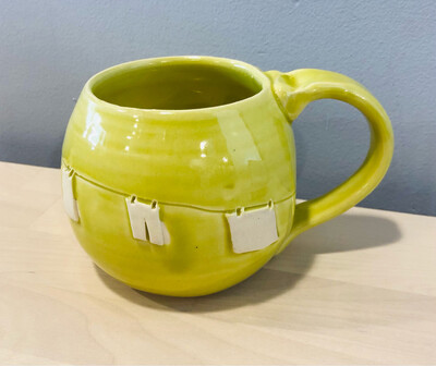 Lime Green Clothesline Mug