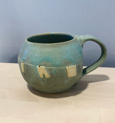 Aqua Clothesline Mug GA