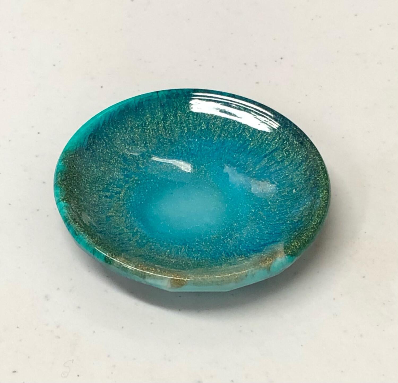 Round Resin Dish Light Aqua & Gold