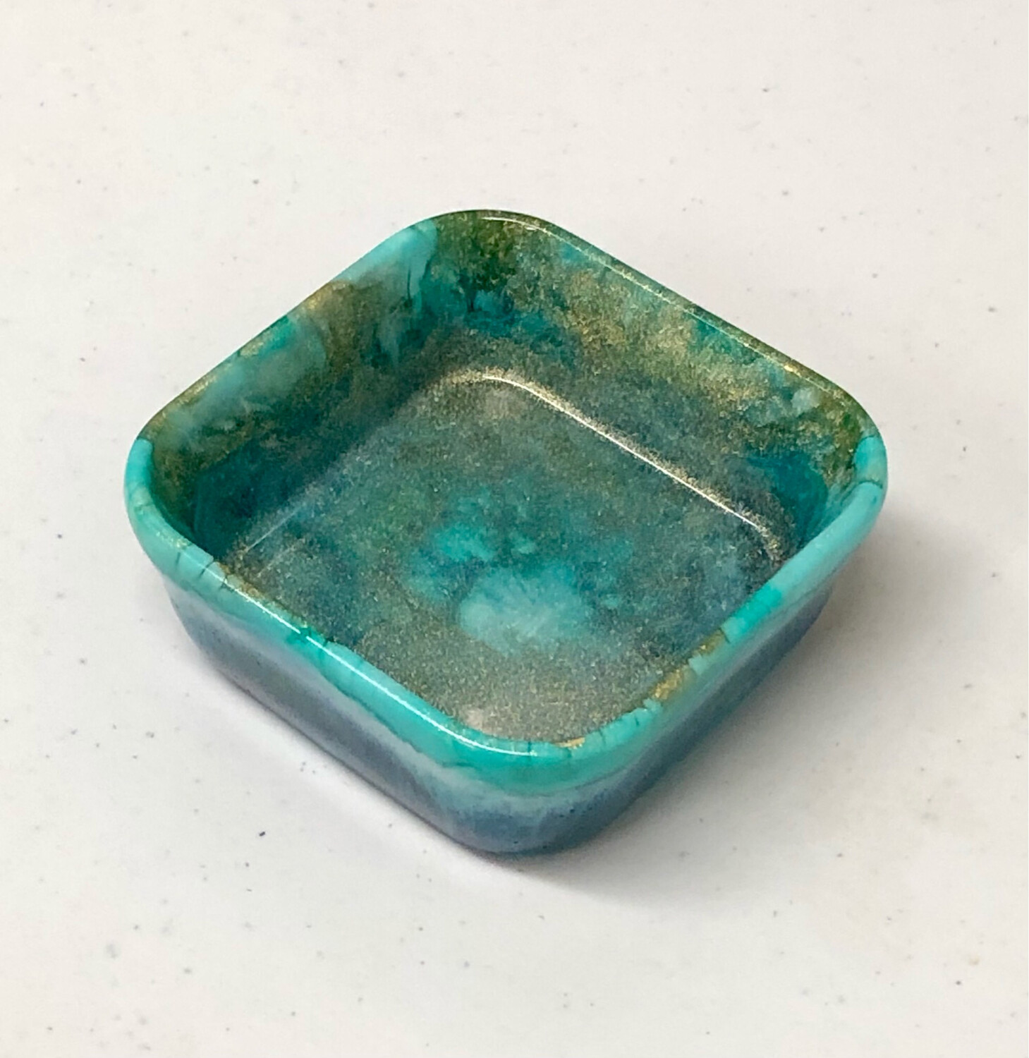 Square Resin Dish Gold & Teal