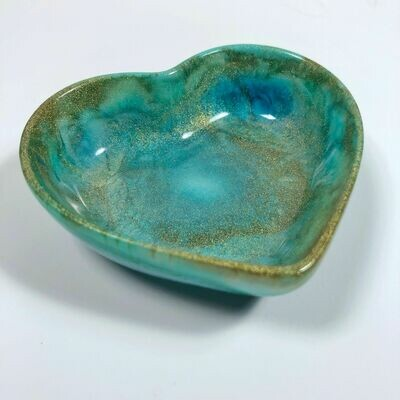 Gold & Aqua Resin Heart Dish