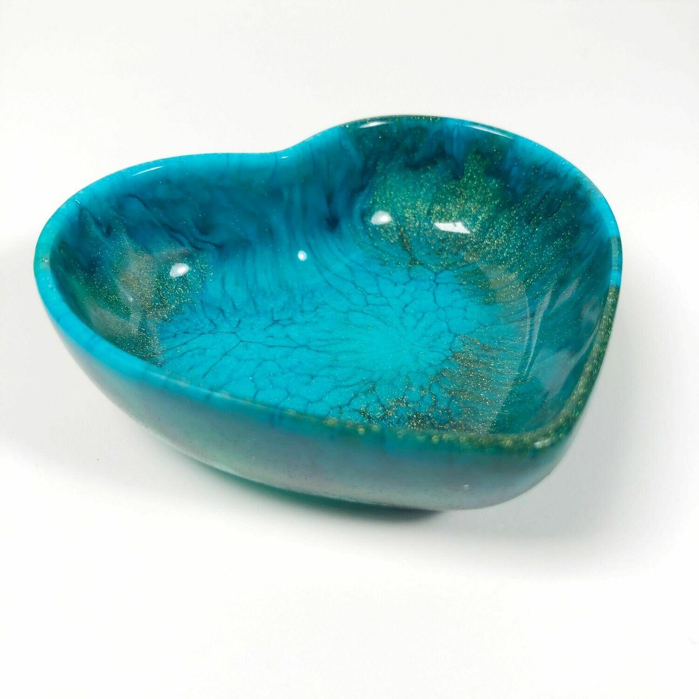 Rich Blue & Gold Resin Heart Dish