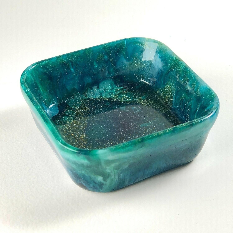 Square Resin Dish Gold & Deep Blue