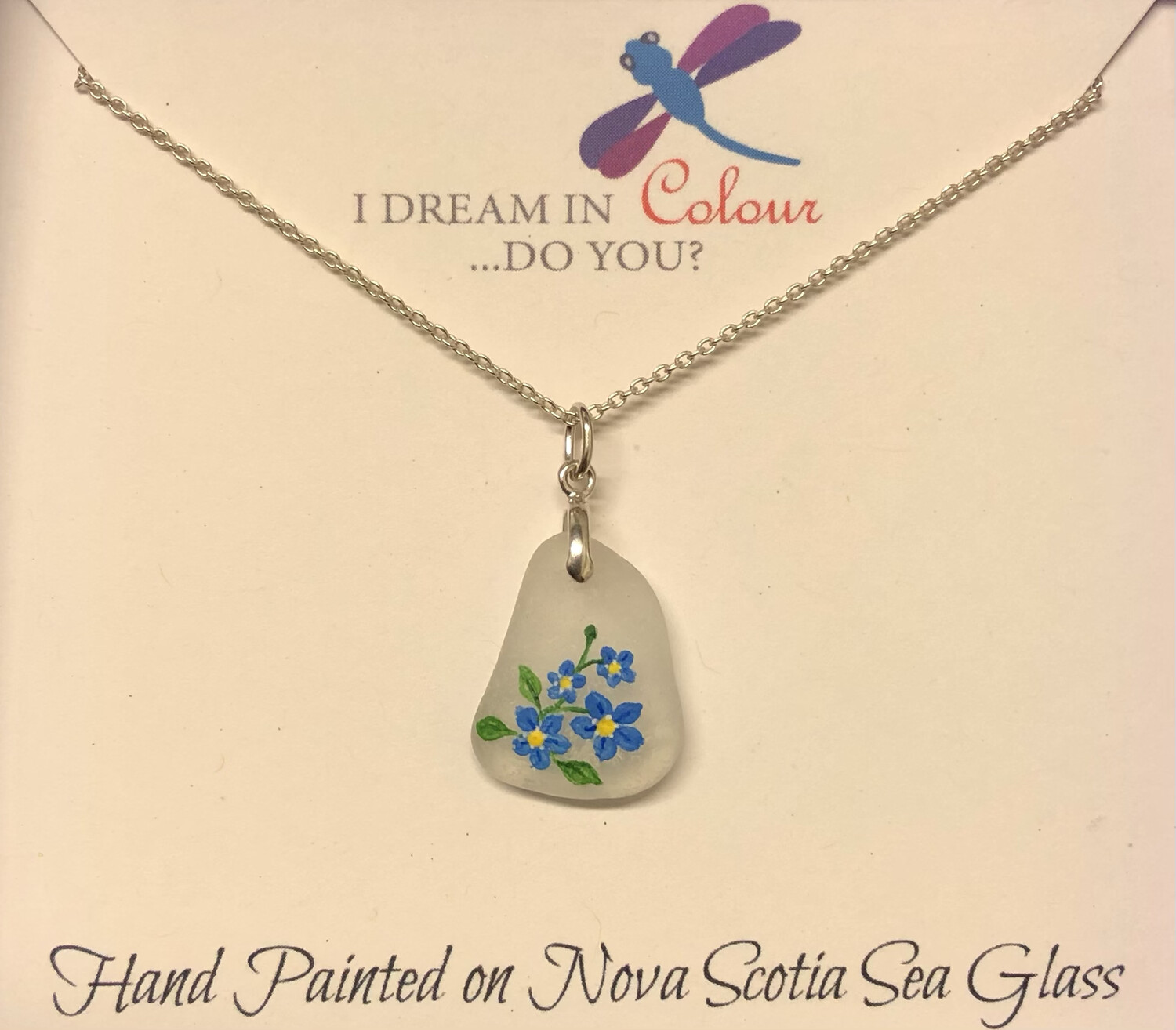 Painted Sea Glass, Forget Me Not - I Dream in Colour