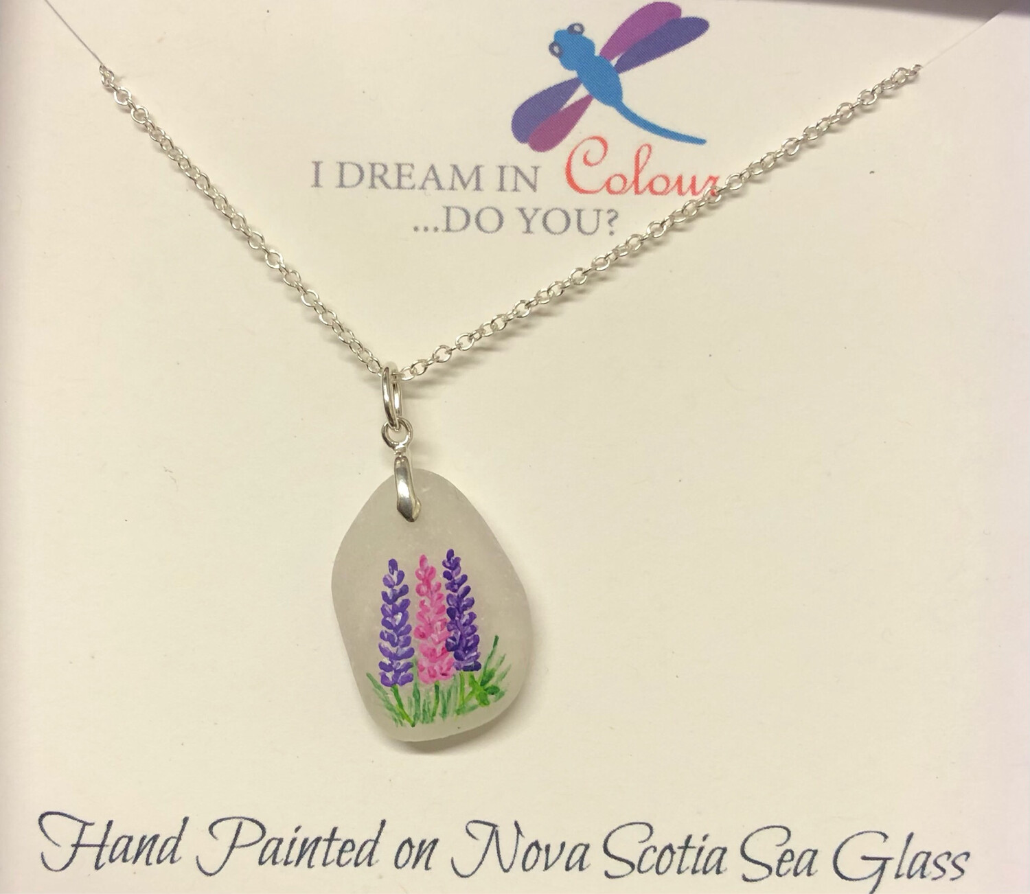Painted Sea Glass, Lupins - I Dream in Colour