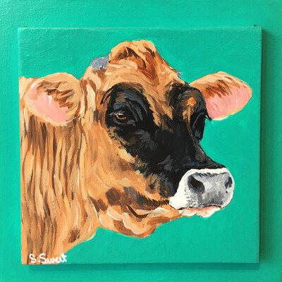 Jersey Cow on Teal Mint