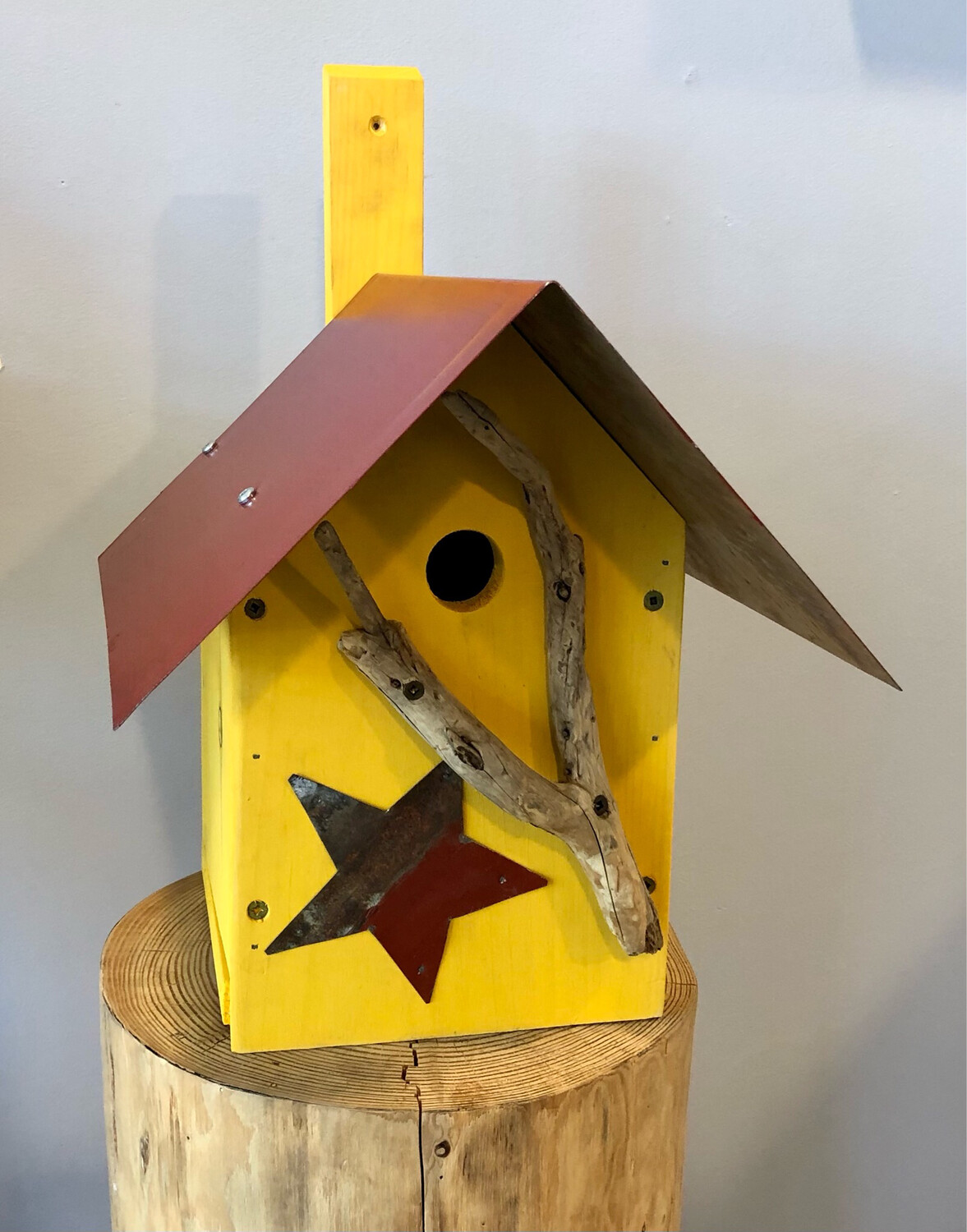 Yellow Bird House with Bird - Jerry Walsh