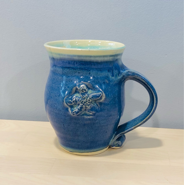 Blue Starfish Mug, Tall