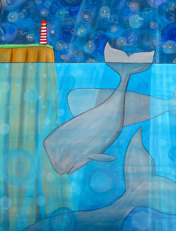 Whales & Lighthouse - Shelagh Duffett