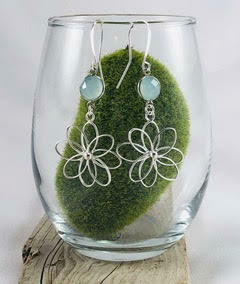 Flower and Aqua Gemstone Earrings- Shy Giraffe