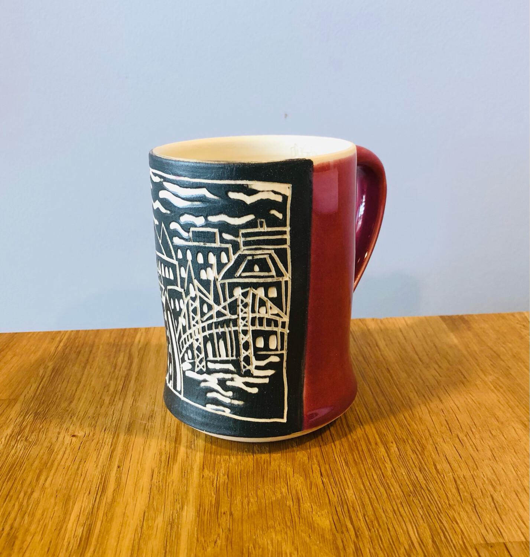 Skyline Panel Mug - Raspberry