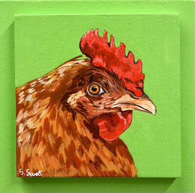 Red Hen on Spring Green