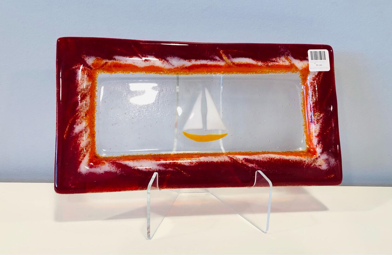 Orange Sailboat, Red Server- Kiln Art 6x12