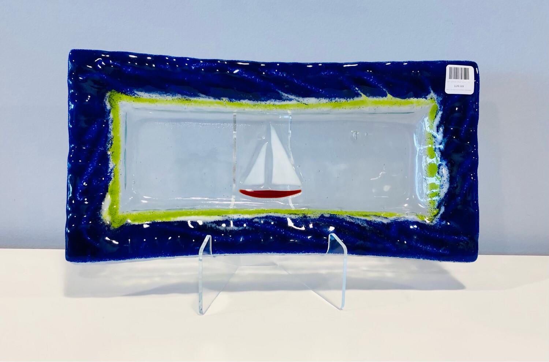 Red Sailboat, Blue Server- Kiln Art 7x14