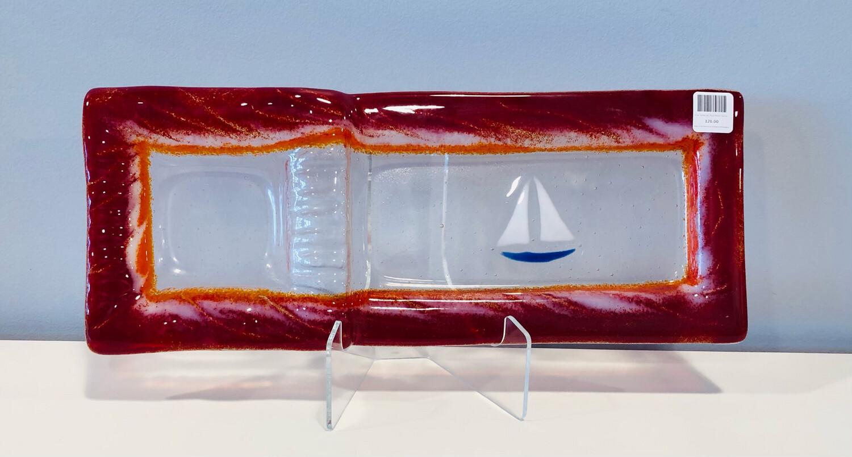 Blue Sailboat, Red Multi Server- Kiln Art