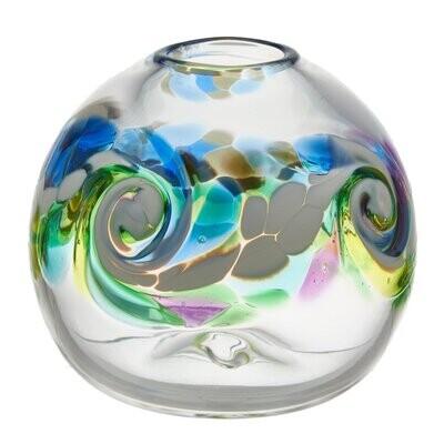 """Round Wave Vase - Ocean Breeze 7"""""""