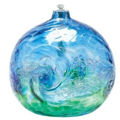 "Van Glow Oil Lamp - Blue & Green 6"""